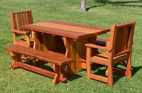 patio table plug 2 1 4 natural wood outdoor dining table with benches