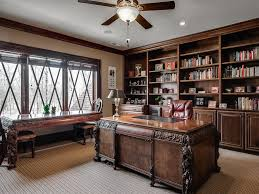traditional home office with flush light u0026 ceiling fan in waxhaw