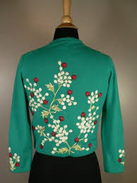 vintage 50s 60s helen bond carruthers sweater embroidered