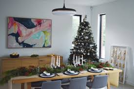 White Christmas Tree With Black Decorations Black And White Christmas Table Styling With Native Australian