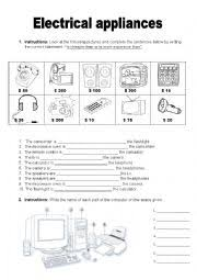 english teaching worksheets electrical appliances