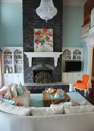 orange and aqua blue coastal living room transitional living