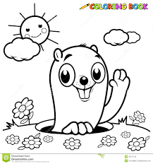 coloring book groundhog stock vector image 42571118