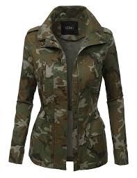 army pattern clothes womens long sleeve camo military anorak jacket with pockets camo