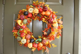 decorations fruits harvest and fall maple leaves wreath outdoor