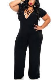 plus size black jumpsuit plus size jumpsuit in black with lace up detail us 19 95 yoins