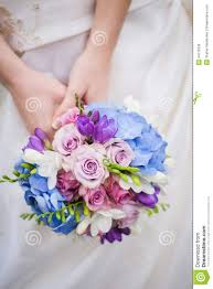 Wedding Flowers Blue And White Bride Hold Colored Blue Pink Wedding Bouquet Royalty Free Stock