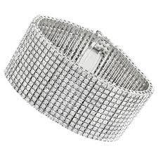 diamond bracelet cuff images Sterling silver mens diamond cuff bracelets 2 carat 12 row tennis jpg