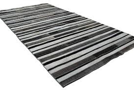 Leather Area Rugs Striped Black Gray And White Leather Area Rug Designed By Shine