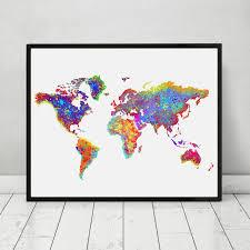 World Map Poster Watercolor World Map Wall Art Wall Hanging Map