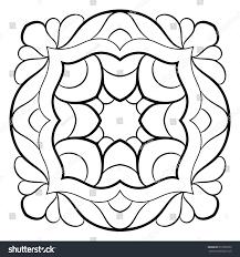 monochrome mandala symmetrical pattern square contour stock vector
