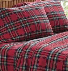Tartan Flannelette Duvet Cover Red Plaid Flannel Duvet Cover 9305