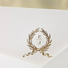 Engraved Wedding Invitations Classic Engraved Wedding Monogram Hand Engraved Embassy Wedding
