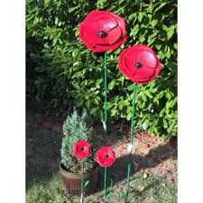 metal poppy day garden ornament stake large by fountasia