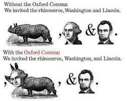 Comma Meme - abraham lincoln george washington and a rhinoceros oxford comma