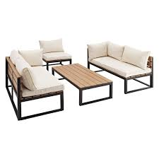 Overstock Com Patio Furniture Sets - walker edison all weather outdoor 4 piece conversation set with