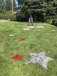 my crazy aunt is spraying stars in the backyard for the family bbq