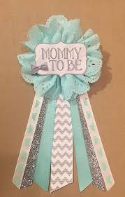 baby shower ribbon gray teal silver baby boy shower to be flower by afalasca