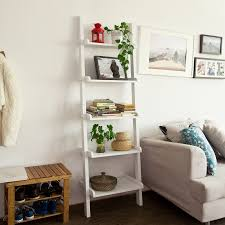 Narrow Family Room Ideas by Decorating Attractive Leaning Ladder Shelf For Middle Room Design