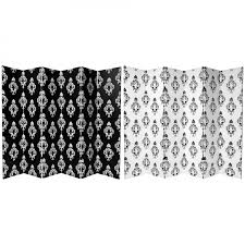Canvas Room Divider 6 Ft Tall Double Sided Black And White Damask Canvas Room Divider