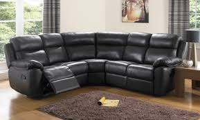 living room black small leather sectional couch with recliner