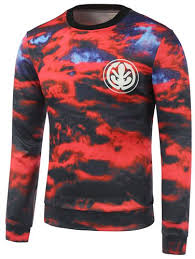 crew neck graphic printed cloud cheap sweatshirt sale red