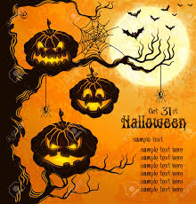 free halloween orange background pumpkin orange grungy halloween background with scary pumpkins on a tree