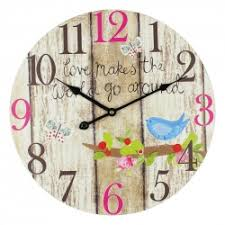 chic butterflies and birds wall clock