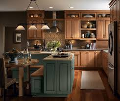 Kitchen With Maple Cabinets by Cherry Cabinets With Painted Kitchen Island Kemper