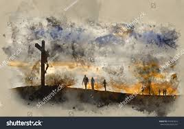 watercolour painting silhouette jesus christ crucifixion stock