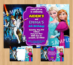 double birthday party invitation star wars and frozen boy