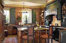 interesting primitive kitchen decor ideas wth wooden cabinet