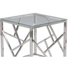 round chrome side table furniture chrome side table round canada ls base and glass
