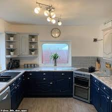 painting kitchen cabinets frenchic savvy homeowner gives drab kitchen a chic make for 180
