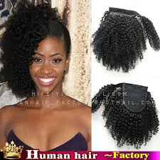 afro puff pocket bun hairstyles 120g 140g kinky curly 100 human afro ponytail hair extensions