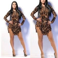 2015 women leopard plus size dress print slim cocktail