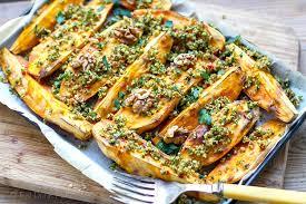 roasted sweet potatoes with walnut parsley garlic