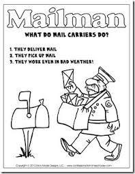 mailman hat coloring page kindergarten mail carrier unit with links to more units fire safety