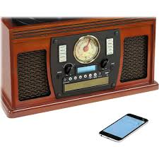 victrola 8 in 1 bluetooth wooden music center brown vta 600b mh