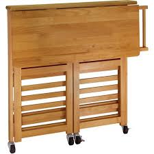 folding kitchen island folding kitchen cart with knife block light oak walmart
