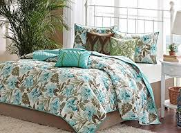 turquoise tropical palm leaf quilt set 6 piece bed in a bag