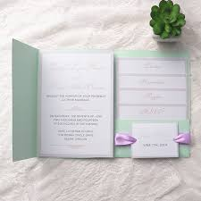 mint wedding invitations cheap simple mint green pocket lavender ribbon wedding invitations