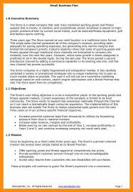 9 small business plan template abstract sample