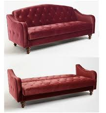 Sofa Bed World Red Velvet Sofa Bed Burgundy Tufted Futon Couch Merlot Wine