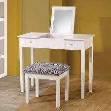 coaster lift top vanity with upholstered stool white zebra