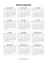 Kalender 2018 Free Blank Calendar 2018