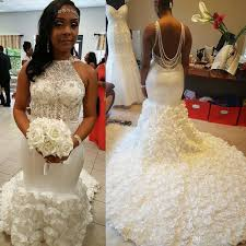 coming to america wedding dress stunning 3d flowers mermaid wedding dresses 2017 back