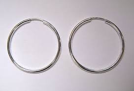 silver sleeper earrings 3cm wide sterling silver 1 5mm thick tubular sleeper hoop earrings