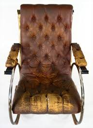 Early American Rocking Chair Igavel Auctions Woodard Tubular Metal U0026 Leather Rocking Chair