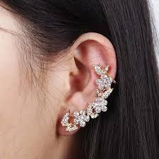 2014 butterfly gold flower rhinestone ear cuff stud